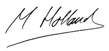 MR M W Holland signature
